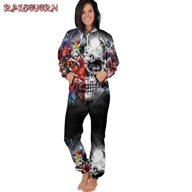RAISEVERN Autumn Romper Women Skull Long Sleeve Jumpsuit Casual Women Elegant Hip Hop Sportswear Zipper Jumpsuits Bodysuit 2018