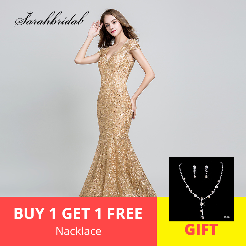 2019 New Arrivals Robe De Soiree Elegant   Evening     Dresses   Lace Mermaid Floor Length Prom Party   Dresses   Embroidery LSX547