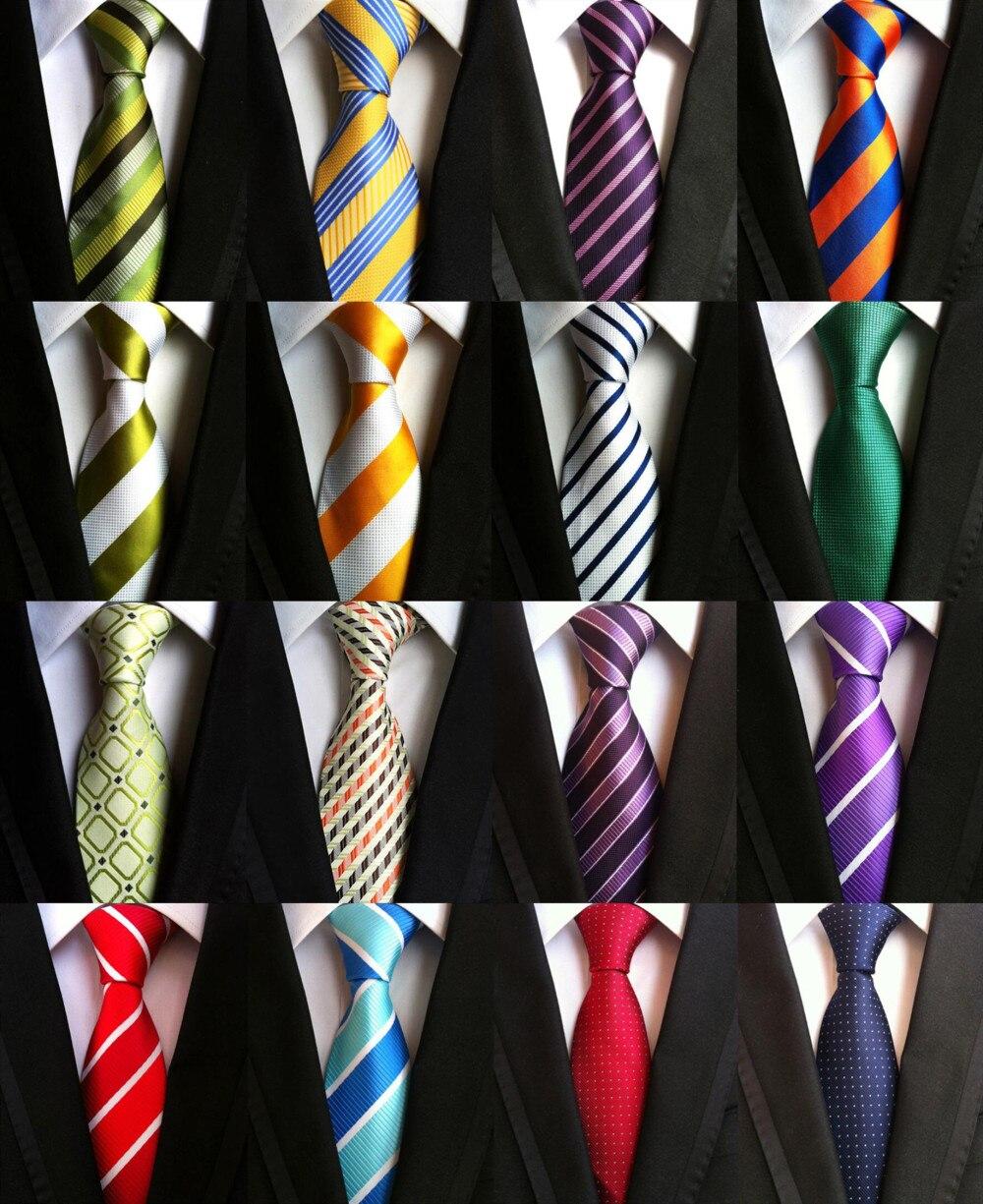 Yellow Purple Green Red Blue White Mens Business Tie Formal Striped 8cm Jacquard Wedding Necktie Narrow Classic Neckwear Gravata