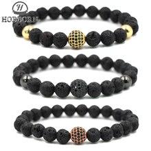 HOBBORN Trendy Natural Black Volcanic Lava Stone Bracelet Men Women Rose Gold Silver Color CZ Crystal Ball Bracelets Pulseras