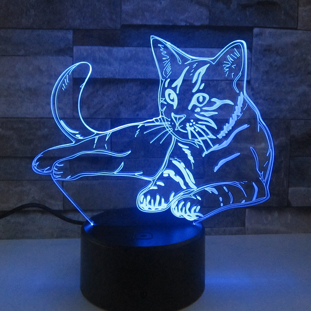 Lovely Cat 3D Night LightRemote Touch Swith LED Animal 3D Lamp 7 Colors USB 3D Illusion Desk Lamp Home Decor As Kids Toy Gift icoco usb rechargeable led magnetic foldable wooden book lamp night light desk lamp for christmas gift home decor s m l size