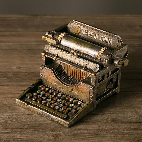 handmade resin crafts retro typewriter vintage typer antique marking machine model statue prop. Black Bedroom Furniture Sets. Home Design Ideas