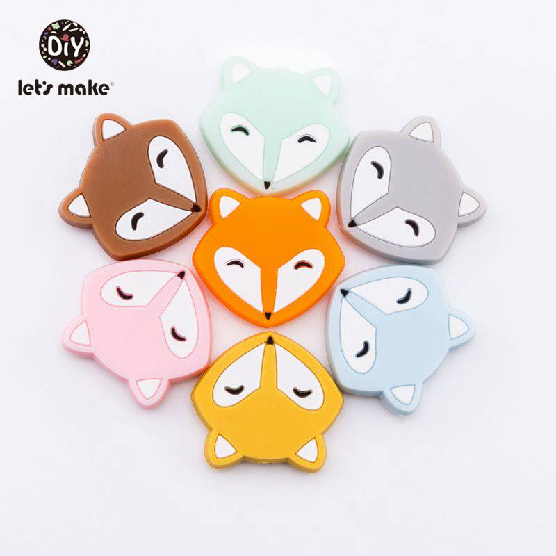 Let's Make Baby Teether Mini Fox Head Slilcone Bead 50pc Food Grade Slilcone Teether Nurse Gift Sensory Dental Care Teething Toy
