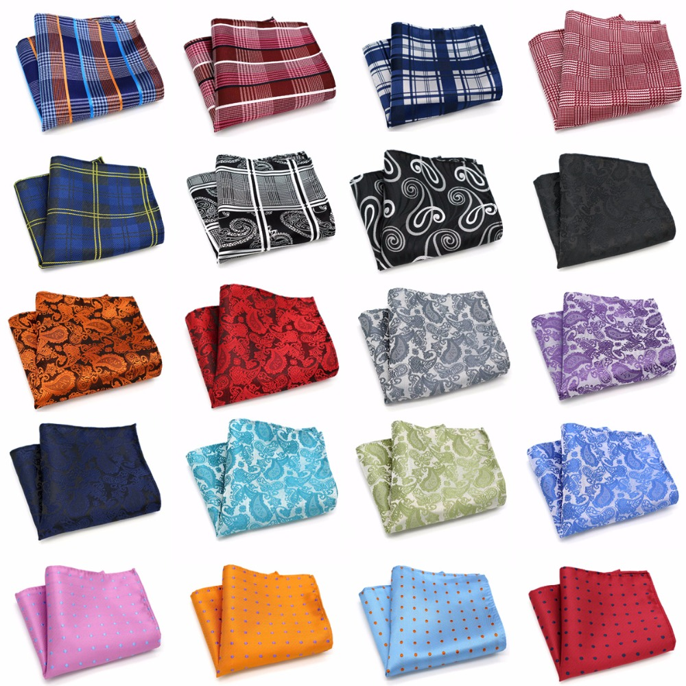 Wholesale ( 20 Pieces / Lot ) Mens 100% Silk Handkerchiefs Floral Paisley Stripes Polka DOTS Pocket Squares For Wedding Party
