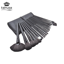 24pcs Makeup Brushes Set Wooden handle Cosmetics Beauty Tools Kit Eyeshadow Powder Brush PU Bag Black Pincel de maquiagem Brush