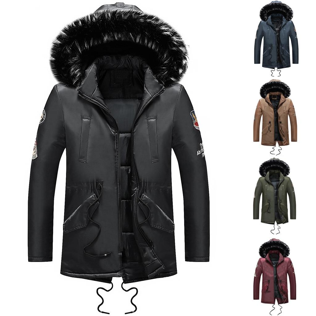 Youyedian 2019 Männer Winter Lange Hülse Tasche Pelzigen Kragen Mit Kapuze Outwear Jacke Mantel Plus Größe Chinesische Aromen Besitzen Herrenbekleidung & Zubehör Parkas