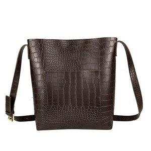 Image 3 - Vintage Fashion Female Tote bag New Quality PU Leather Womens Designer Handbag Alligator Bucket bag Shoulder Messenger Bag