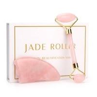 Розовый КВАРЦЕВЫЙ роликовый для похудения Массажер для лица лифтинг инструмент натуральный нефритовый роллер для массажа лица камень масс...