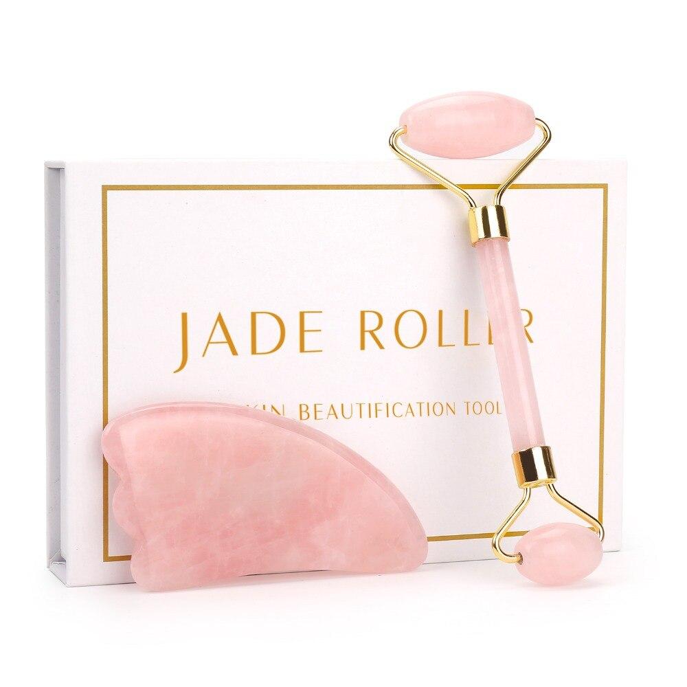 Rosa rolo de quartzo emagrecimento rosto massageador ferramenta levantamento jade natural rolo massagem facial pedra pele massagem cuidados beleza conjunto caixa