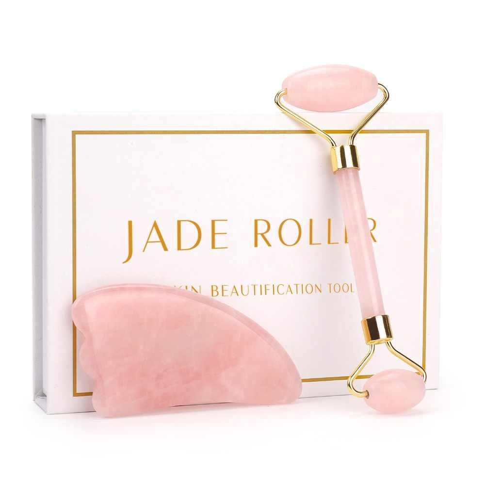 Rose Quartz Roller Pelangsing Wajah Massager Alat Angkat Alami Giok Pijat Wajah Roller Batu Kulit Pijat Kecantikan Perawatan Set Kotak