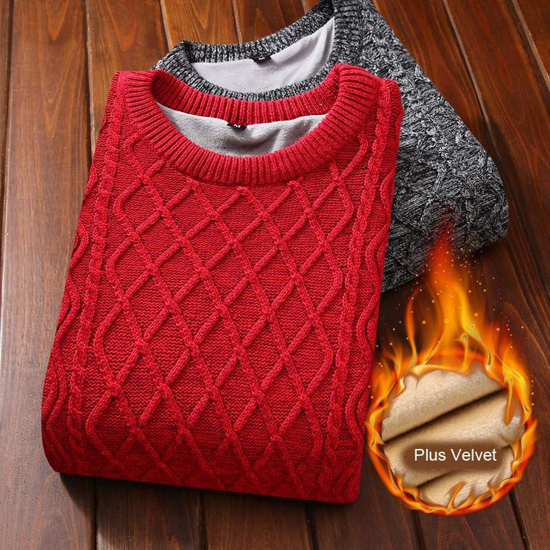 Winter Men Sweater Plus Velvet 2019 New Arrival Thick Keep Warm Male Knitted Pullover Sweater Teenage Boys Korean Style M36