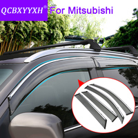 QCBXYYXH Car Styling 4pcs Lot Window Visors For Mitsubishi Outlander ASX Pajero Sport Lancer Sun Rain