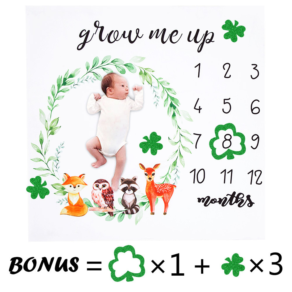 Newborn Baby Monthly Growth Milestone Blanket Photography Props Background Cloth Commemorate Rug Girls Boy Blanket Kids