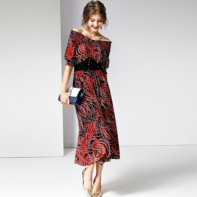 100% Silk Dress Women Elastic Slash Neck Short Sleeve High Elastic Waist Button Decoration Dress Summer New Fashion 2019