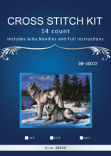 Compare Prices N4th two wolf in snow ,Counted Cross Stitch 14CT Cross Stitch Sets Wholesale cartoon Cross-stitch Kits Embroidery Needlework
