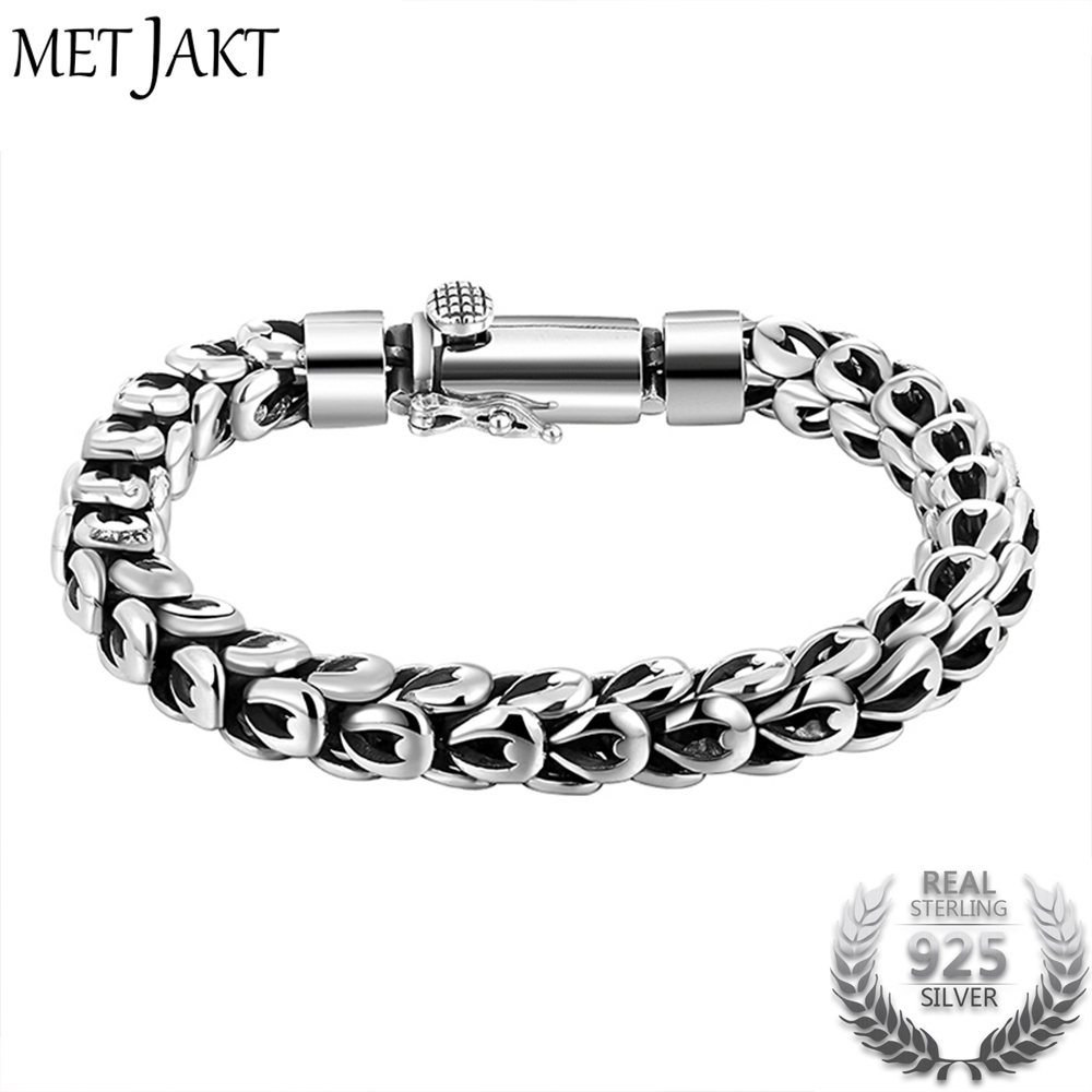 MetJakt Gothic Real 925 Sterling Silver Dragonscale Bracelet Men High Polished Vintage Punk Rock Bracelets Jewelry for Mens 20cm 925 sterling silver bracelets for men skull bracelet vintage punk rock gothic bague fashion men cool exaggerated fine jewelry