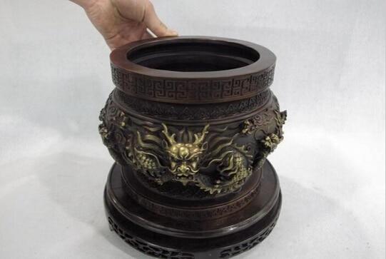 B0602 427 Royal Palace Pure Red Bronze Copper Six Dragon Bowl Basin Censer incense burner  statue