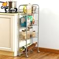 ORZ 4 Fila Dell'organizzatore di Immagazzinaggio Della Cucina Cremagliera Mensola del Bagno di Metallo di Rotolamento del Carrello Carrello Cestino Conservazione Degli Alimenti Stand Risparmia Spazio Titolare