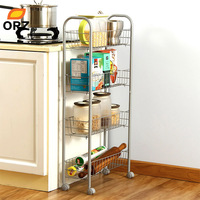 ORZ 4 Tier Storage Organizer Rack Kitchen Bathroom Shelf Metal Rolling Trolley Cart Food Storage Basket Stand Save Space Holder