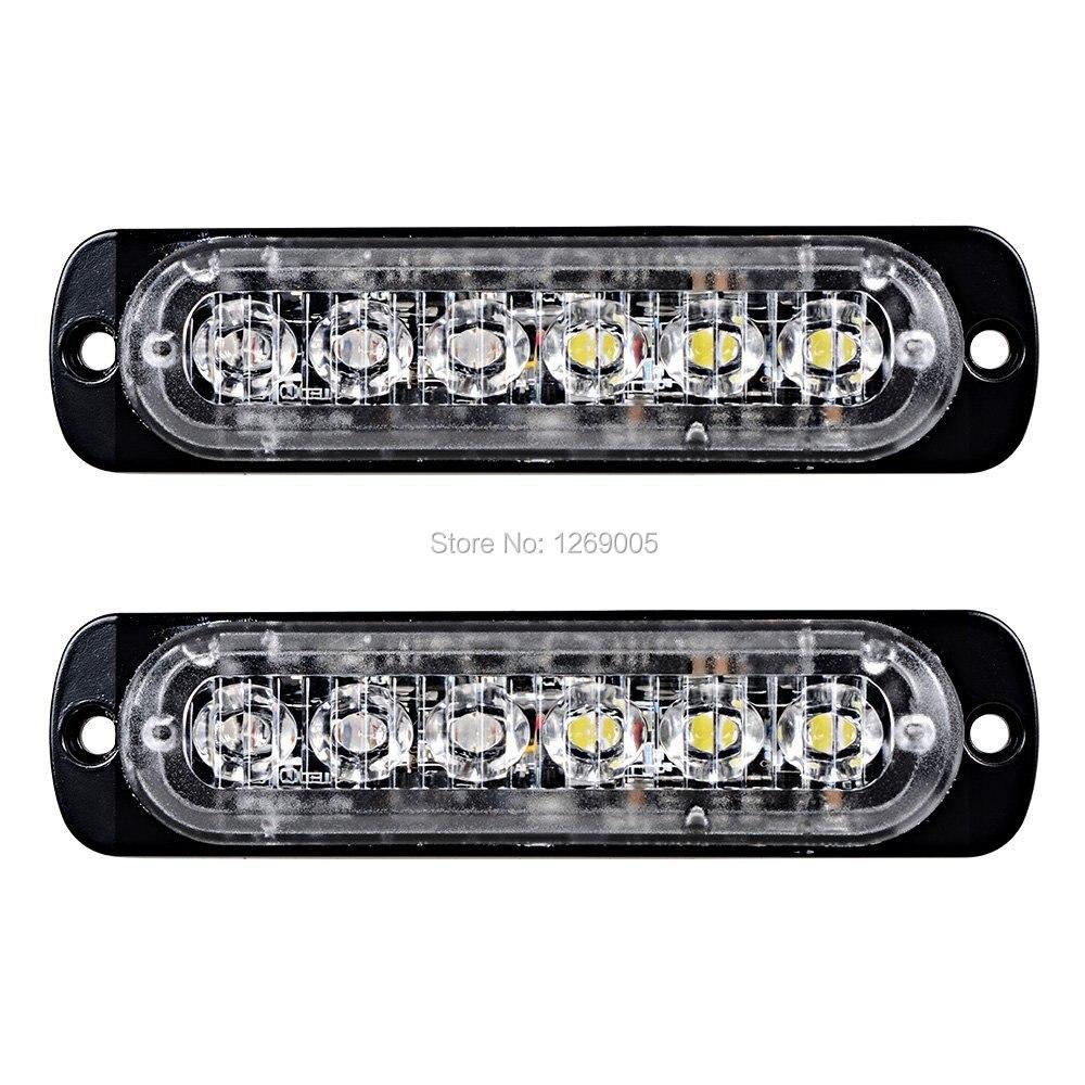 2 PCS Haute Qualité 6 LED Voiture stroboscopique Surface Mount D'urgence Ambre Led Lumière Stroboscopique pour la Conception Universelle 16 Clignotant Modes