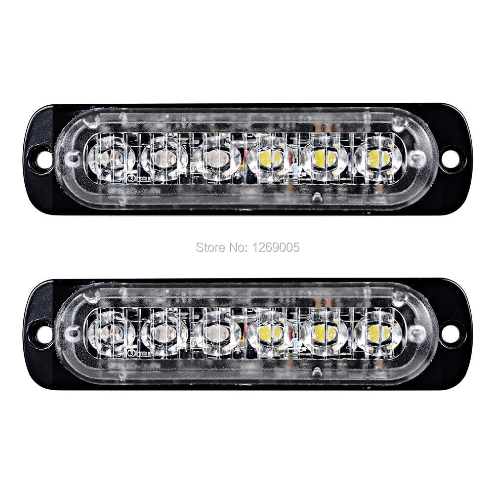 2PCS High Quality 6 LED Car strobe Surface Mount Emergency Amber Led Strobe Light for Universal Design 16 Flashing Modes