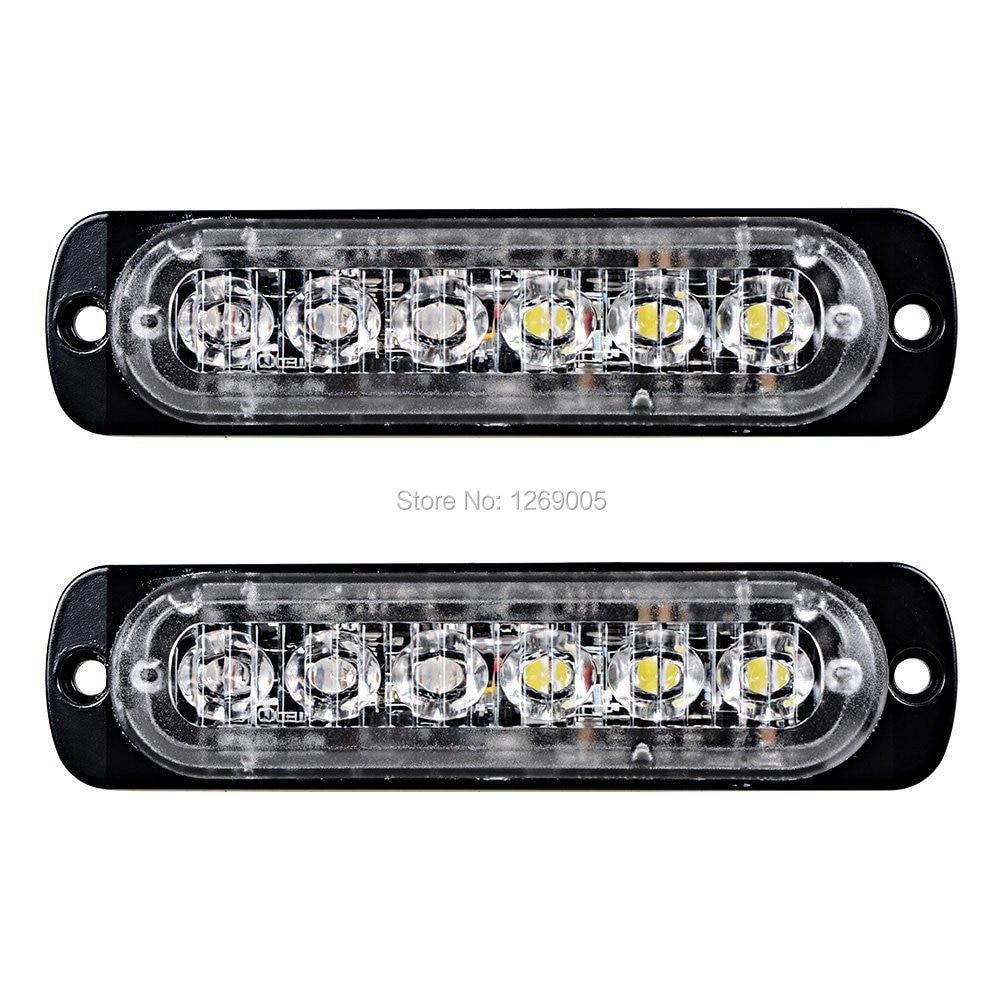 2PCS მაღალი ხარისხის 6 LED მანქანის სტროფი ზედაპირის მთაზე გადაუდებელი ქარვა, Led Strobe Light უნივერსალური დიზაინისთვის 16 მოციმციმე რეჟიმი