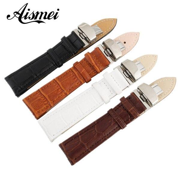 New Arrive watchband Design Durable 12,16,18,20,22,24mm Genuine Leather Deployant Bracelet Strap Watch Band Black coffee white стоимость