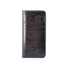 TERSE_Wholesale price mens handmade long wallet vintage engraving purse phone pocket genuine leather bag custom service