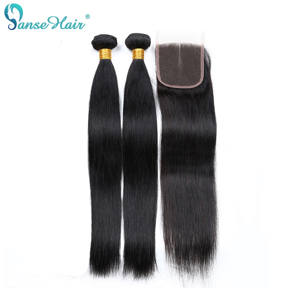 Panse Hair Brazilian Straight With Closure 100% Human Hair Weave Extensions Two Bundles With 4*4 Lace Closure Non-Remy Hair