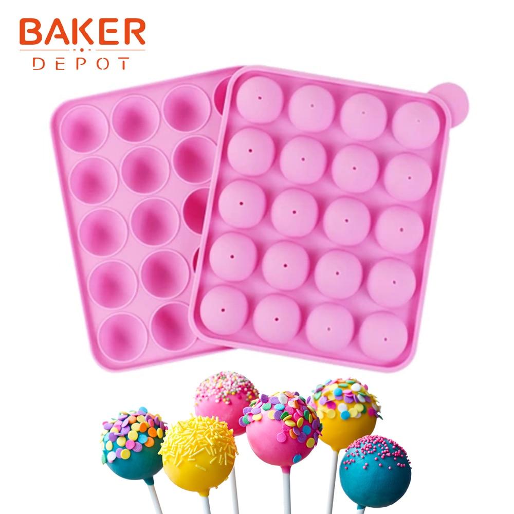 BAKER DEPOT Silikonová forma pro lízátko dort kulatý tvar bonbón čokoláda plíseň pečící forma silikonový ledový cukr nástroj 20 otvorů