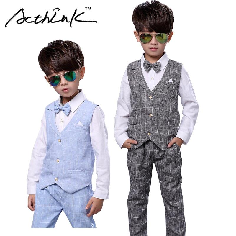 ActhInK Nouveaux Garçons Printemps 2 Pcs Formelle Costume À Carreaux Enfants Deux Pièces Gilet + Shorts Costume Garçons Automne Vêtements De Mariage ensemble, AC048