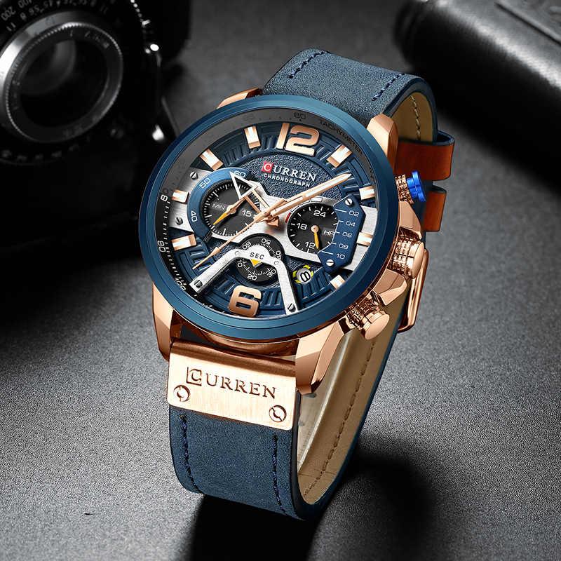 CURREN de la Marca de Lujo para Hombres Analógicos Deportes de Cuero Relojes Hombres Reloj Militar Ejército Hombre Fecha Reloj de Cuarzo Reloj Masculino 2019