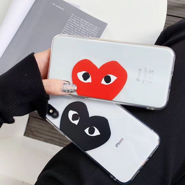 timeless design a81a5 fbb3e US $1.18 30% OFF|Commes des garcons cdg play Japan case for iPhone 6 6s 7 8  Plus X Xs Max Xr brand transparent soft silicone Love heart Cover-in ...