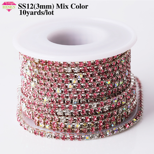 RESEN SS12 3mm Glass Rhinestone Chain Rhinestone Trimming Yard Mix Color  Applique Sew On Rhinestones For Crafts Decoration c77a1243d090