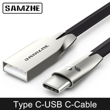 SAMZHE Zinc Alloy Flat USB Type C Cable USB-C Type-c Charger Cable For Galaxy S8 Plus Xiaomi Huawei P10 P9 Oneplus Nexus 5X 6P