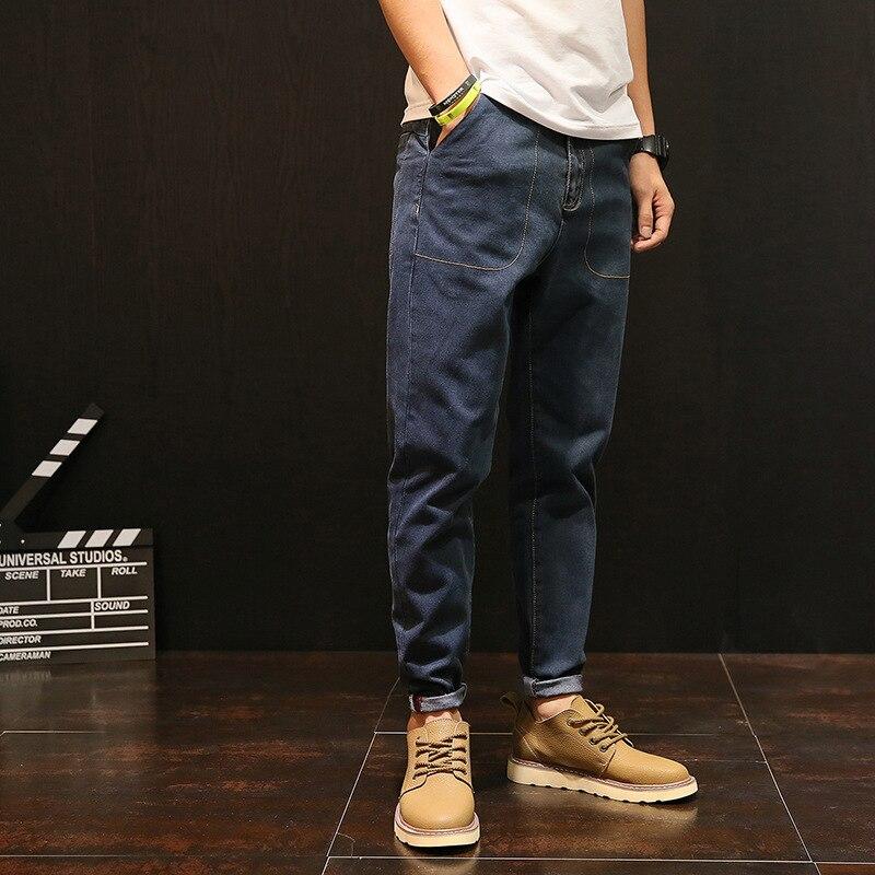 Plus Size Vintage Solid Color Ankle-Length Jeans Man Cuffs Plus Size Blue Denim Pants Mens Trousers 2020 Male Clothes RMP175032