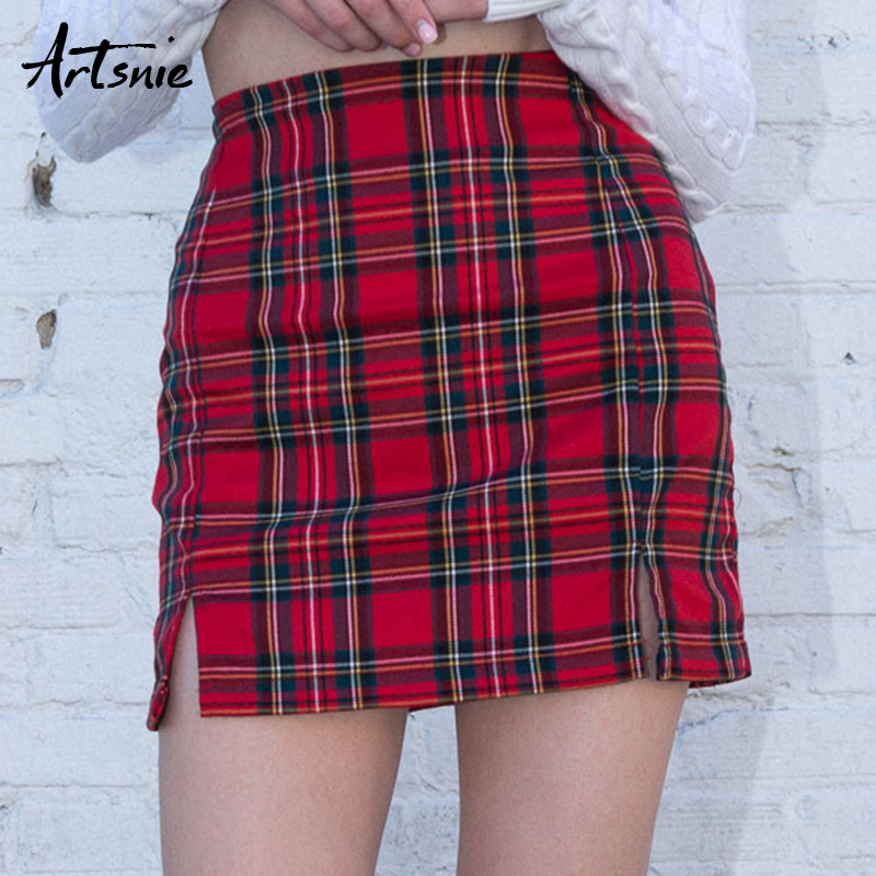 Artsnie Red Plaid High Waist Pencil Skirt Women Spring 2019 Streetwear Casual Split Short Skirts Female Sexy Girls Jupe Femme