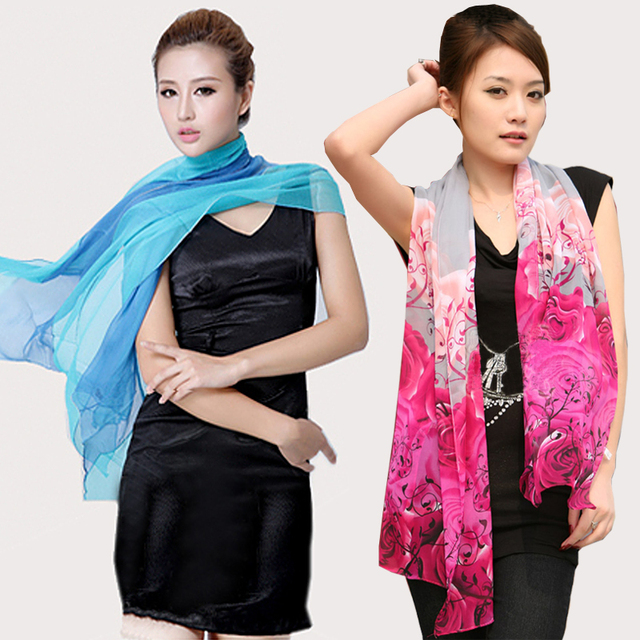 Georgette long silk scarf candy color silk scarf gradient color women's spring and autumn scarf cape