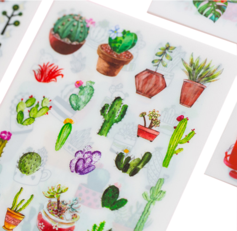 6 Pcs//Pack Green Cactus DIY Decor Plant Washi Diary Scrapbooking Album Stickers