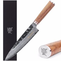 Sunlong 8 дюймов профессиональный шеф повар Ножи Дамаск Сталь V10 Сталь Core гьюто, прямой грецкого ореха, деревянная ручка