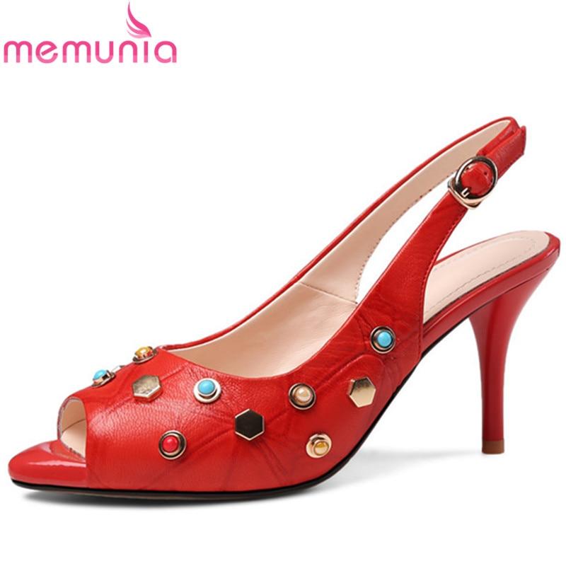MEMUNIA 2019 newest women sandals genuine leather shoes sexy thin high heels shoes peep toe rivet