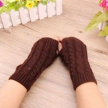 Free Shipping 2017 Top Quality Women's Long Handmade Knitted Crochet Fingerless Braided Arm Warmer Short Gloves Retail Wholesale