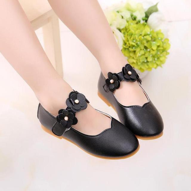 2019 summer Girls Princess Leather Shoes For Children Dress Shoes Sandals Flowers Fashion White Wedding Kids School Flat Shoes