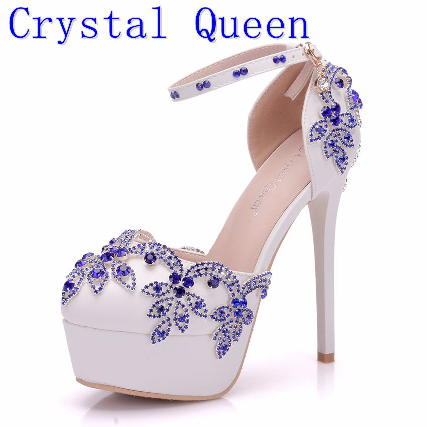Crystal Queen Blue Diamond Ultra Super High-Heeled Sandals With The Bride Wedding Dress Shoes For Bride Evening Party Shoes the new 2017 diamond red bride wedding shoes pointed the bride wedding toast with velvet like shoes fashion