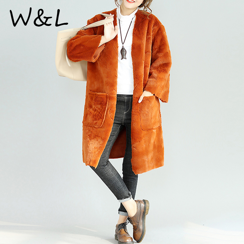 Plus Size Furry Faux Fur Parkas Coats Women Winter Open Stitch Oversized Thick Warm Female Clothing Long Overcoat Outerwear 2017