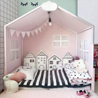 4pcs/set Cartoon House Shape Baby Bed Bumpers Crib Bed Sets Room Bed Home Sofa Decoration Nordic Style Photo Props