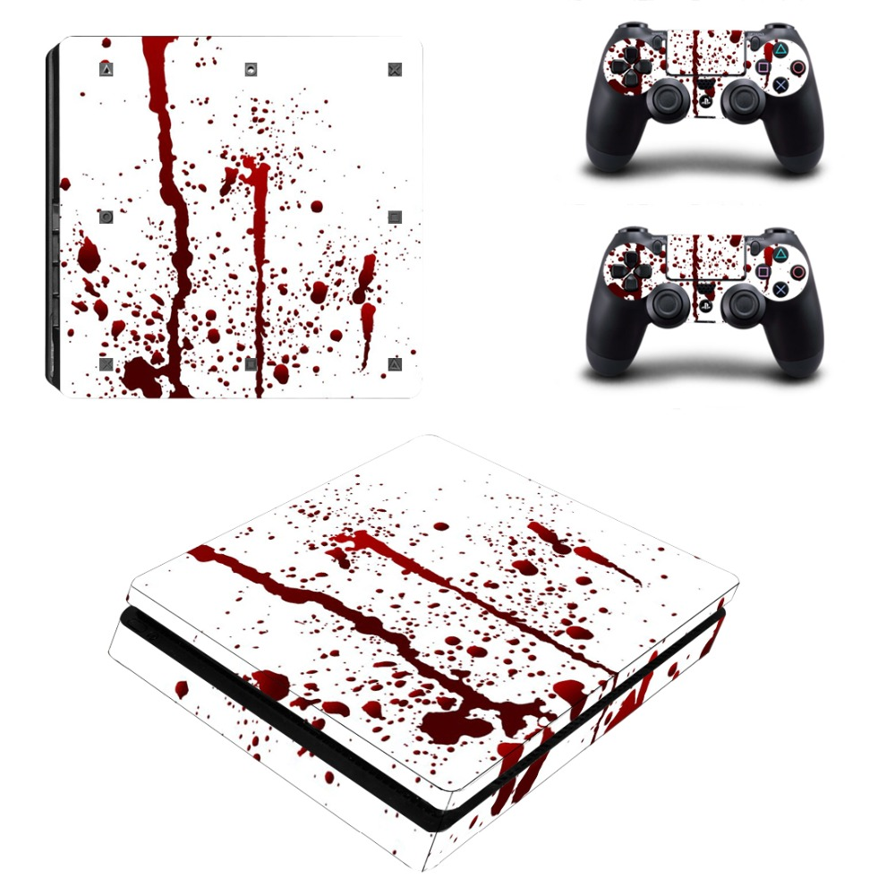 Protetive Vinyl skin For PS4 Slim Sticker For Sony Playstation 4 Slim Console+2 controller Skin Sticker For PS4 S Skin 2
