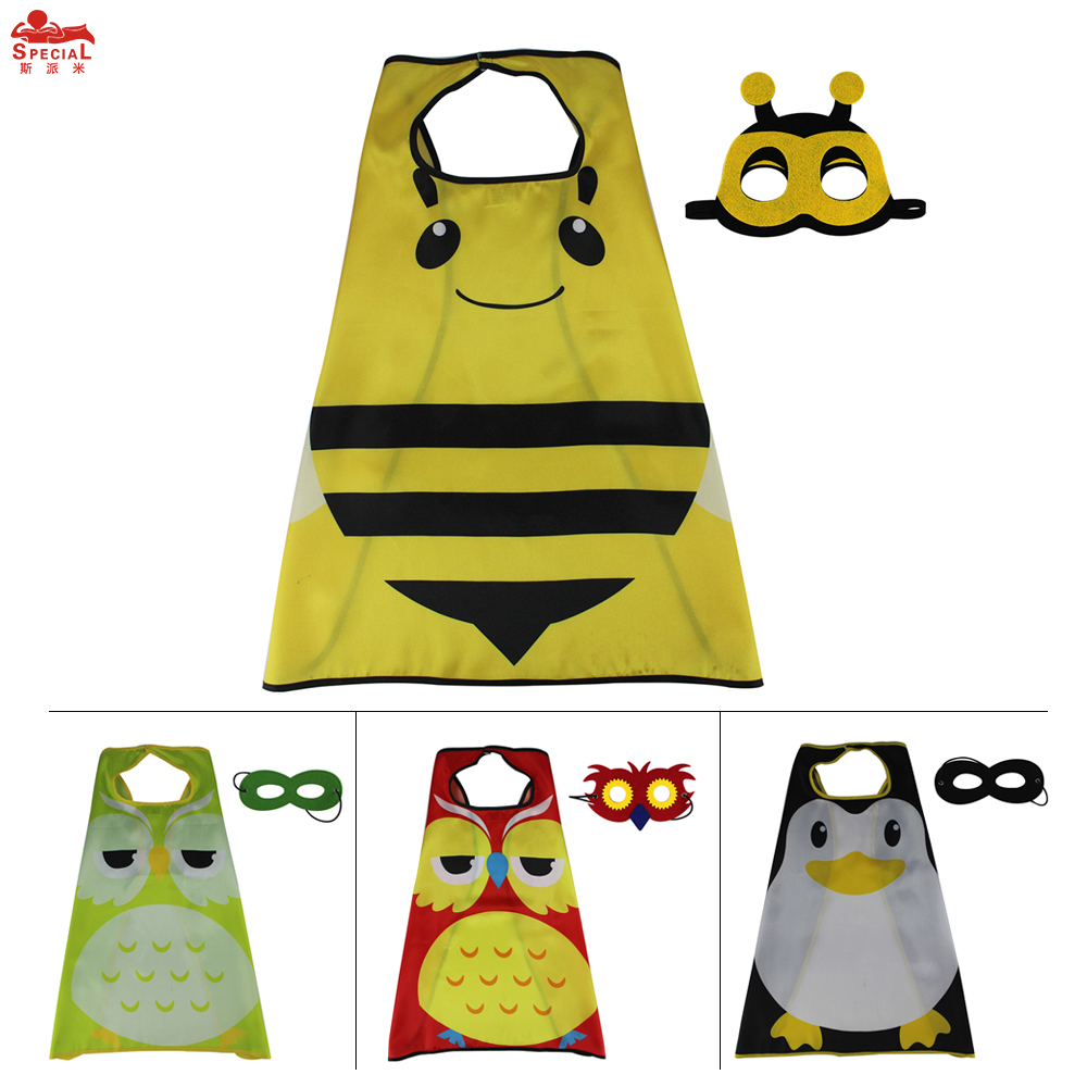 Särskild 70 * 70 Cm Barnparty Cape Mask Eagle Kostym Tillbehör Fabulous Cartoon Costume Nytt År Present Bee Cape Mask
