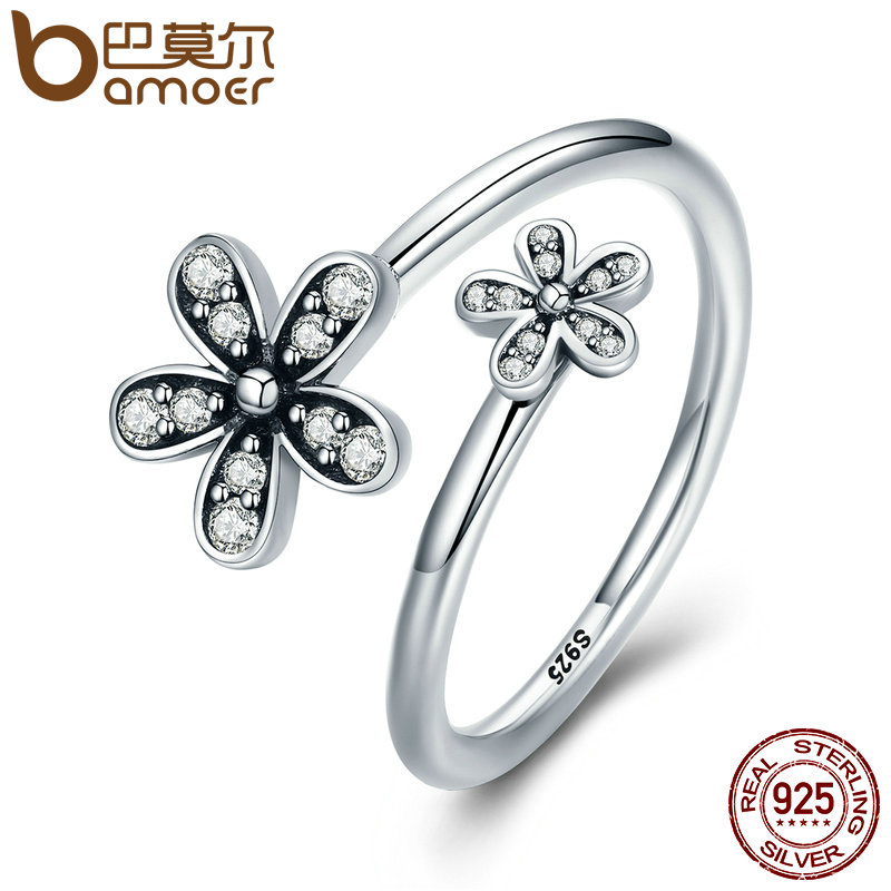 BAMOER Authentic 925 Sterling Silver Dazzling Daisies, Clear CZ Open Finger Rings for Women Sterling Silver Jewelry Gift PA7629