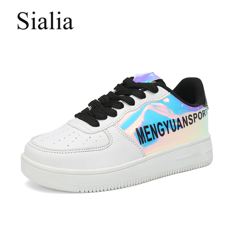 Sialia School Children Shoes For Girls Sneakers Boys Casual Shoes Height Increasing 3cm Solid Student Footwear Kids Shoes PU